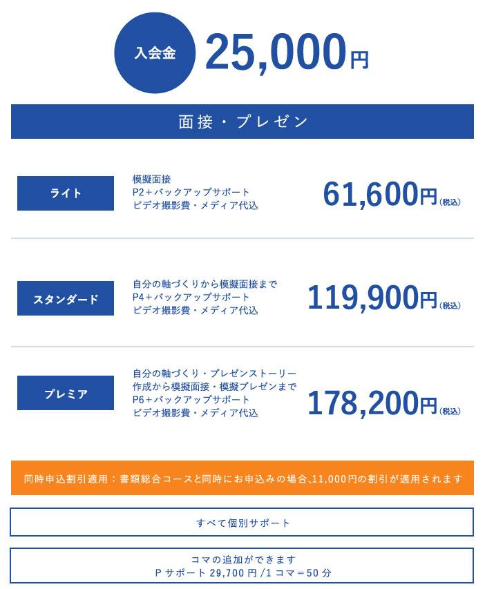 面接総合コース価格表